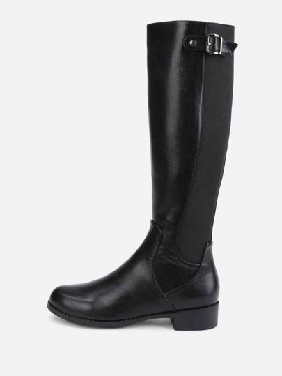 Knie hoch PU Stiefel mit Seiten Reißverschluss