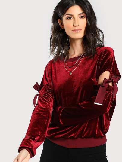 Sweat-shirt manche fendue en velours avec ruban