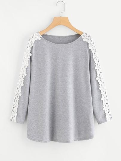 Tee-shirt martelé contrasté en crochet