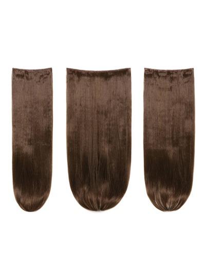 3 piezas de extensión de pelo recto castaño