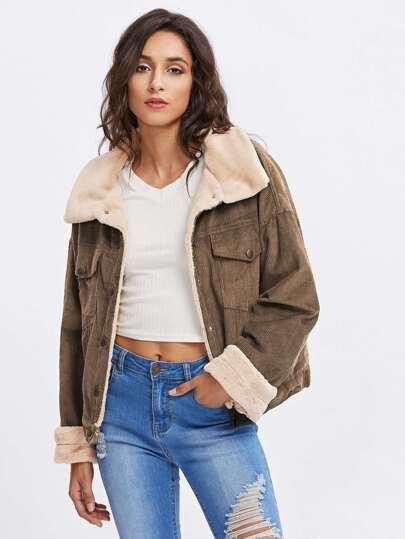 Fleece Inside Drop Shoulder Corduroy Jacket