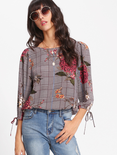 Tie Cuff Plaid And Floral Top