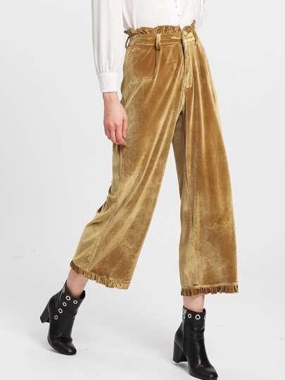 Frilled Waist And Hem Velvet Culotte Pants