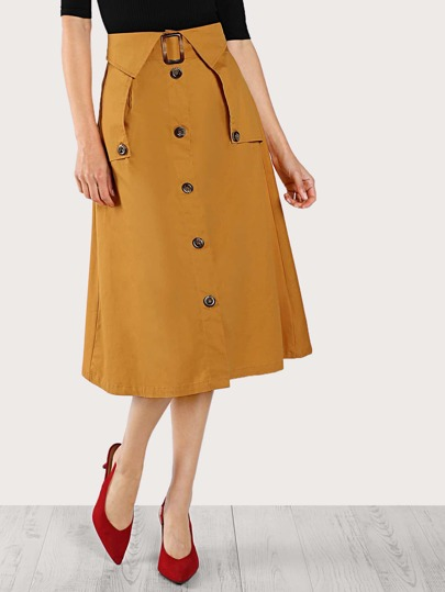 Button Down  A-Line Skirt MUSTARD