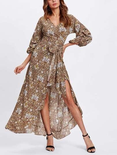 Gathered Sleeve Surplice Wrap Dress