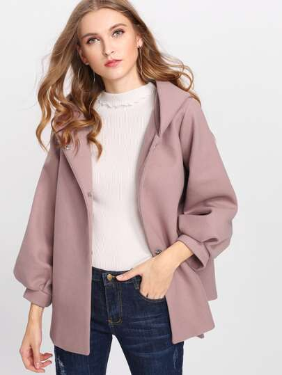 Lantern Sleeve Tie Waist Hooded Coat
