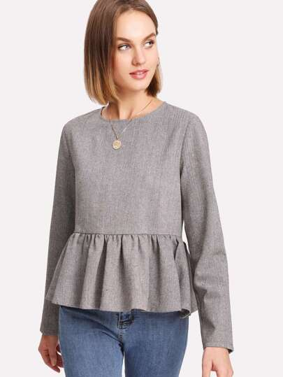 Invisible Zip Back Herringbone Peplum Top