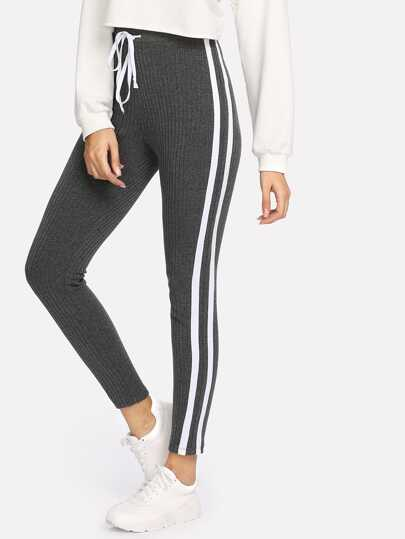 Striped Sideseam Ribbed Knit Sweatpants