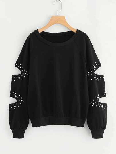 Cut Out Sleeve Pearl Beaded Sweatshirt