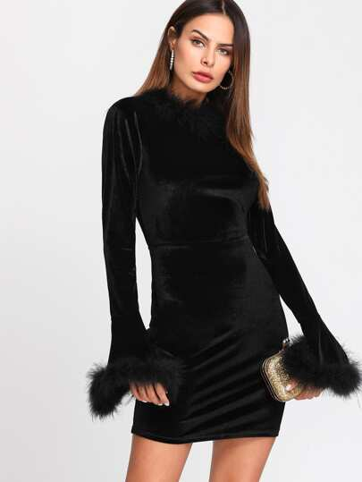 Contrast Faux Fur Bell Cuff And Neck Velvet Dress