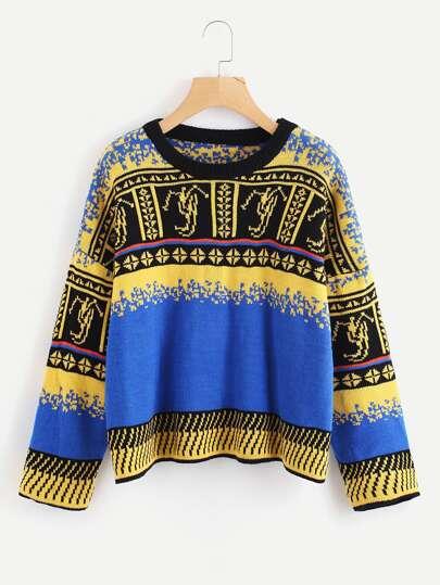 Geo Pattern Drop Shoulder Sweater