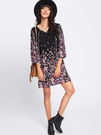 Tassel Tie Neck Kimono Sleeve Botanical Dress