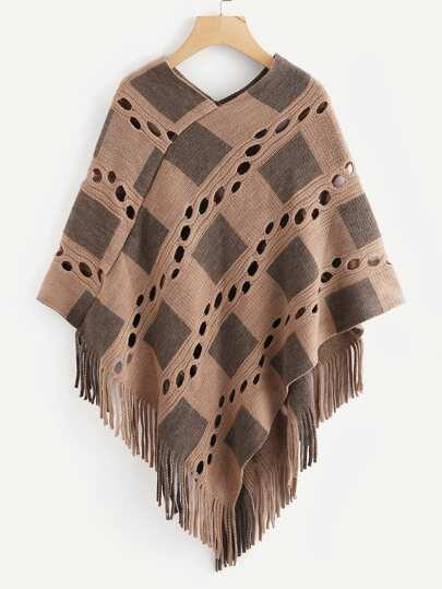 Fringe Hem Eyelet Poncho Sweater