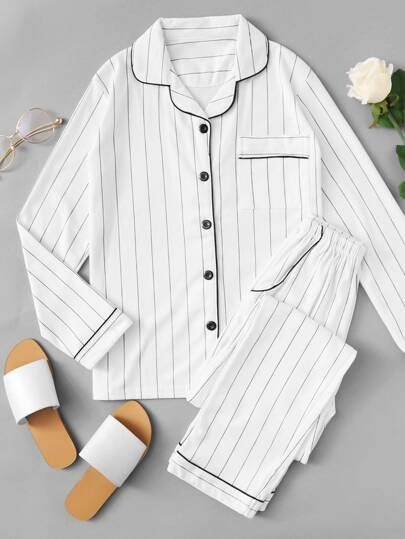 Contrast Piping Striped Pajama Set