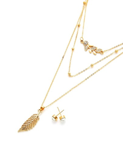 Leaf Pendant Layered Chain Necklace & Round Earring Set