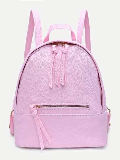 Zipper Front PU Backpack