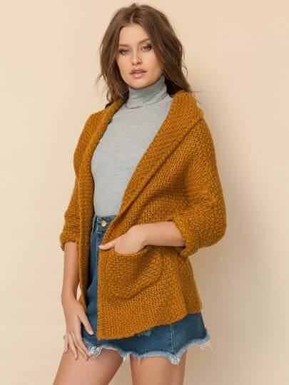 Pockets Chunky Knit Coat