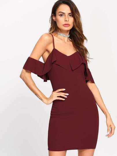 Flounce Trim Cold Shoulder Dress