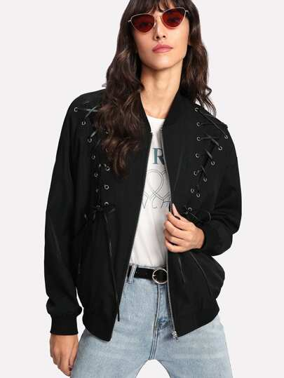 Grommet Lace Up Bomber Jacket