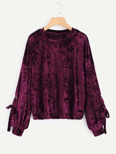 Samt Sweatshirt mit Tülle und Knoten