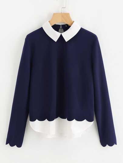 Контрастная модная блуза с фестонами