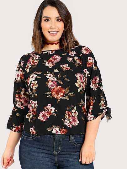 Tie Sleeve Floral Print Top