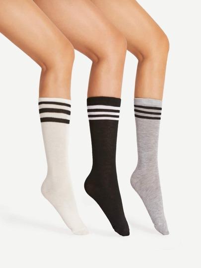 3 pares de calcetines midi de rayas