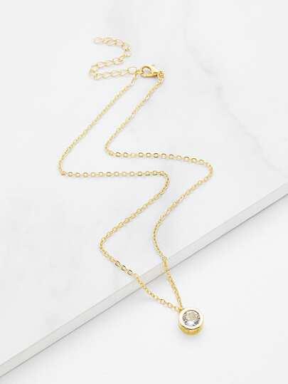 Collier de chaîne avec pendentif de strass rond