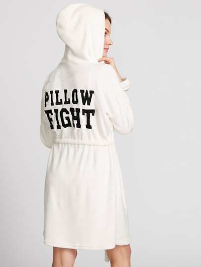 Slogan Patched Drawstring Faux Fur Robe