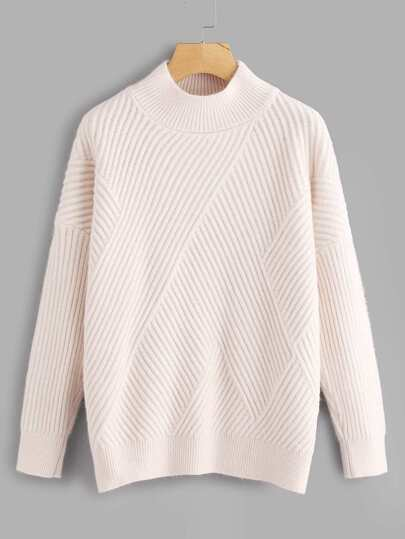 Side Slit Rib Knit Sweater
