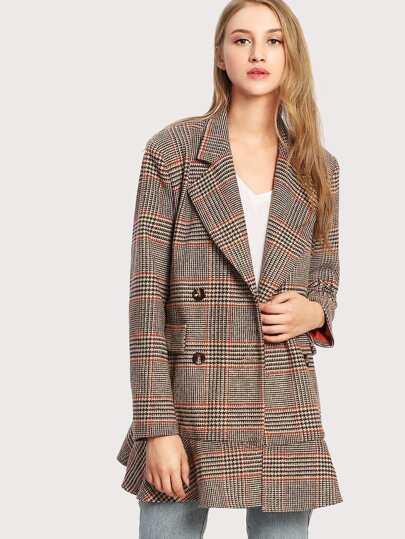 Notch Collar Ruffle Hem Plaid Coat