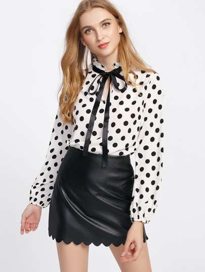 Frilled Tie Neck Polka Dot Top
