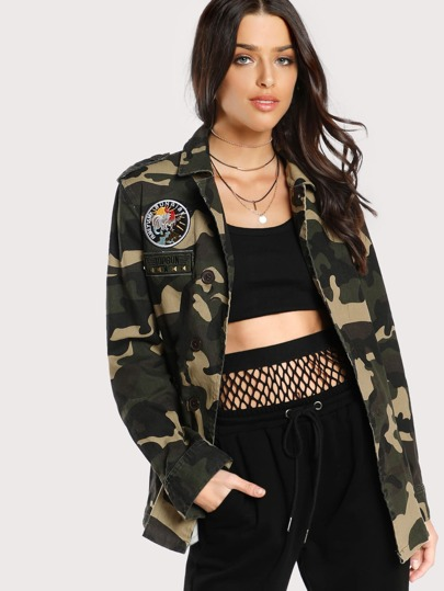 Patch Detail Camo Utility Jacket