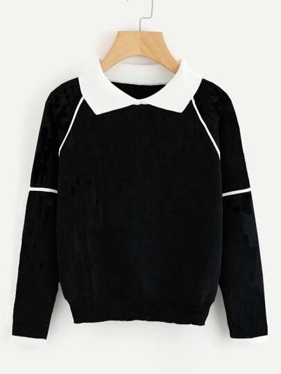 Contrast Collared Seam Detail Knit Jumper