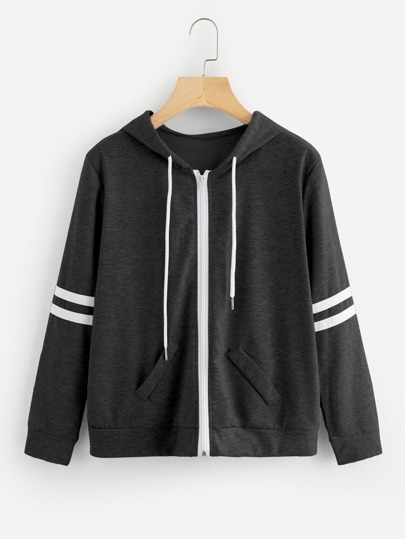 Varsity Striped Marled Hooded Jacket