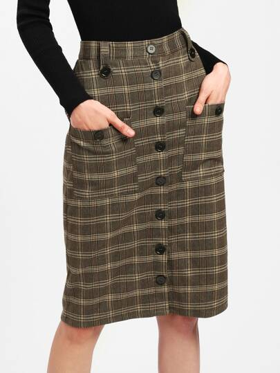Pocket Patched Button Up Plaid Skirt