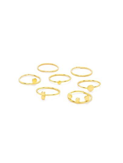 Metal Round Detail Ring Set