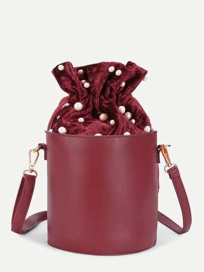 Модная кожаная сумка с бусинами