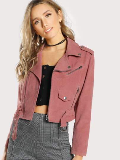 Multi-Zip Textured Moto Jacket