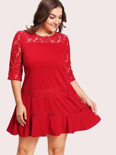 Lace Crochet Contrast Dress