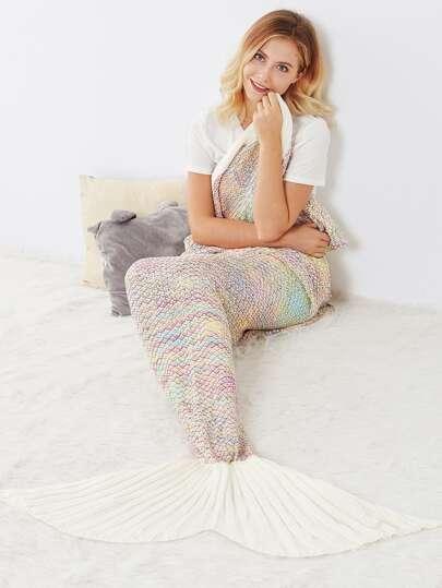 Multicolor Textured Fish Tail Design Mermaid Blanket