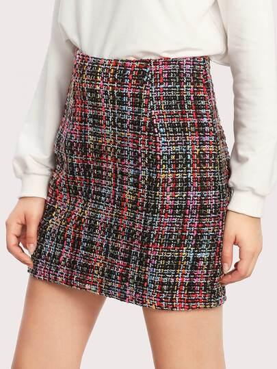 Zipper Hidden Colorful Tweed Skirt
