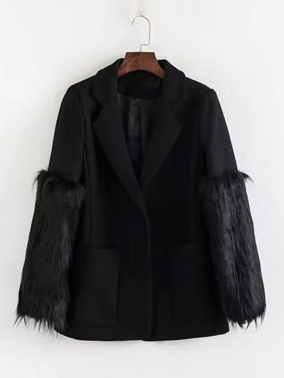Faux Fur Sleeve Blazer