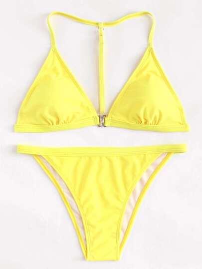 Conjunto de bikini con pernera alta