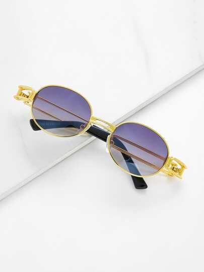 Double Bridge Oval Sunglasses