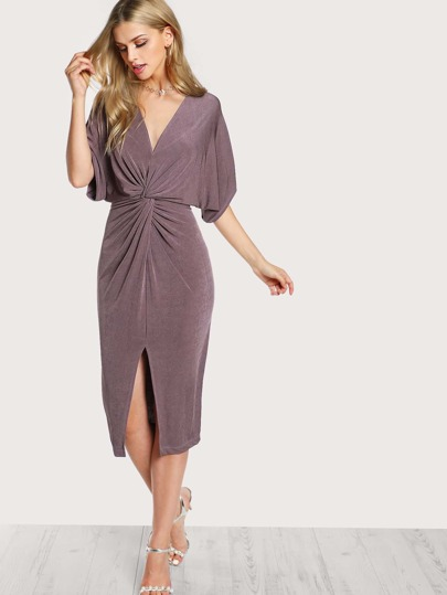 Front Twist Drop Sleeve Dress MAUVE