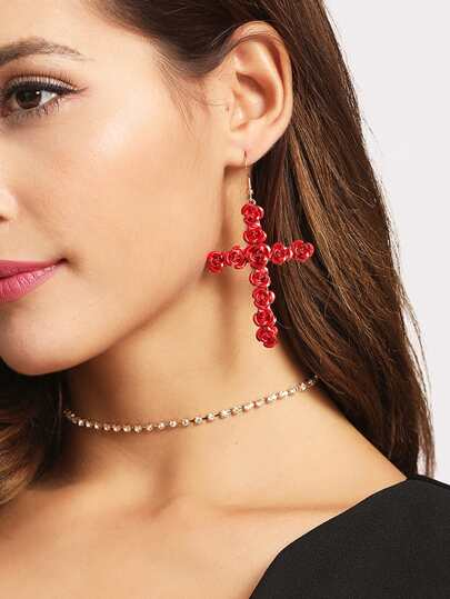 Rose Cross Design Drop Earrings