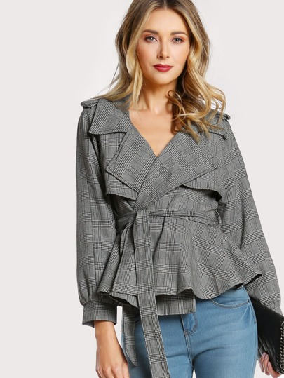 Plaid Pleated Sleeve Blazer GREY