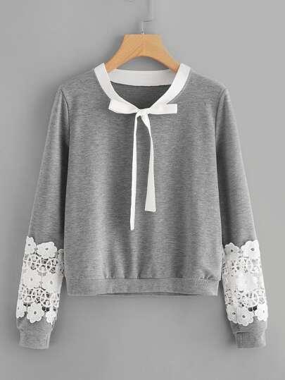 Contrast Crochet Bow Tie Neck Marled Sweatshirt
