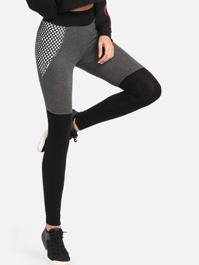 Cut And Sew Mesh Insert Leggings